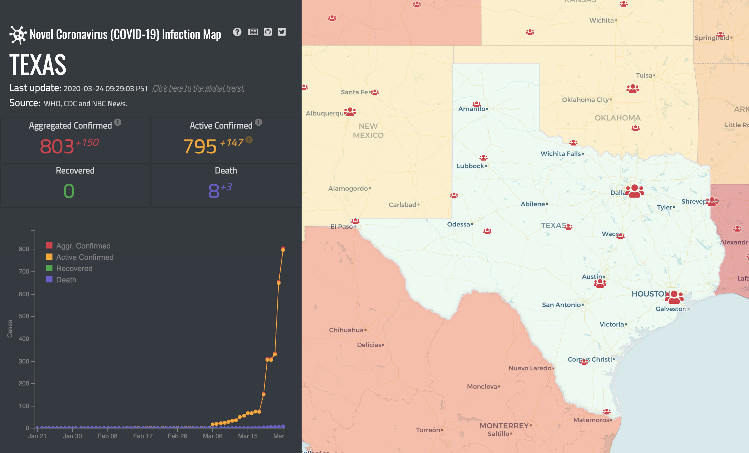 CoronaVirus COVID-19 map of Texas