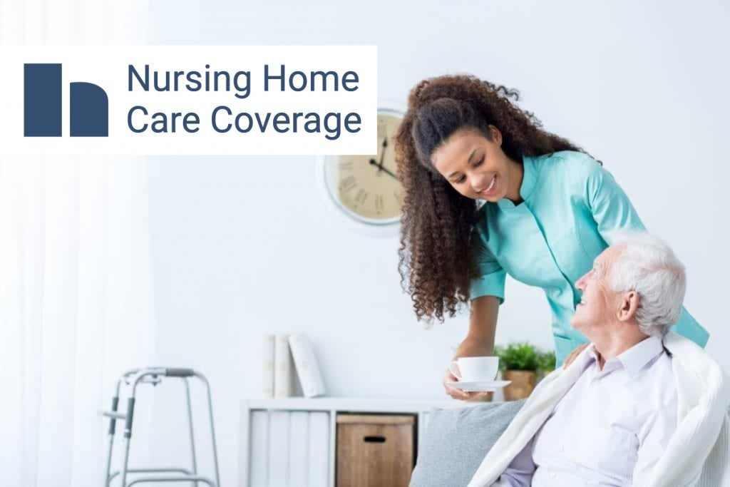 Nursing home care coverage. Happy nurse serving a cup of coffee to a happy elderly man in chair with walker.
