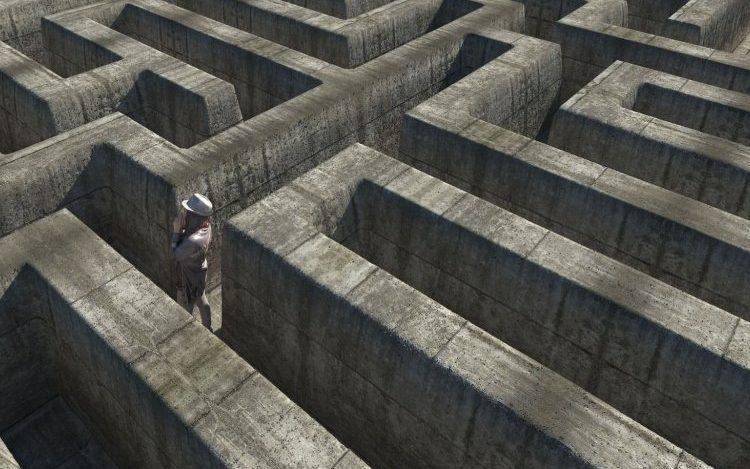 Man in a maze.